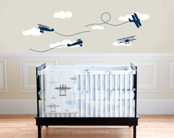 Biplane with clouds, Airplane decal, Nursery Monogram