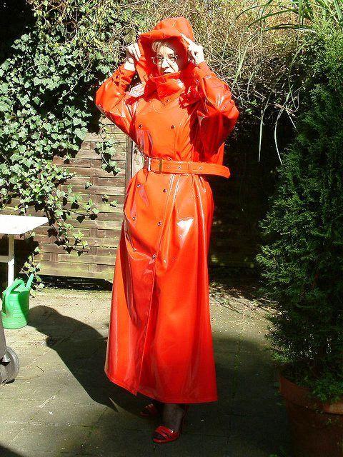 Orange PVC Hooded Raincoat
