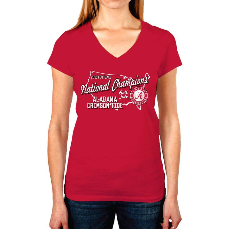 Alabama Crimson Tide Women's College Football Playoff 2015 National Champions V-Neck T-Shirt - Crimson - $25.64