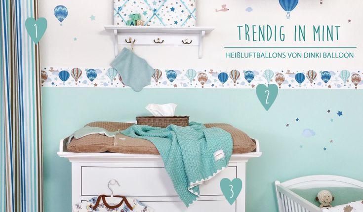 babyzimmerideen bei fantasyroom - babyzimmer mit bordüren in mint