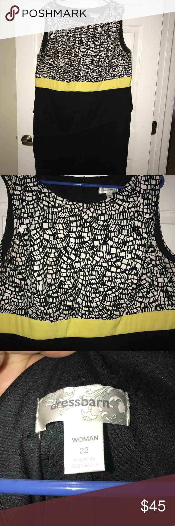 DressBarn multi color dress Multicolored dress from DressBarn. Colored are black, white and a bright yellow size 22 Dress Barn Dresses