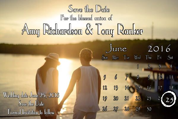 Wedding save the date photo magnets are professionally printed and have a glossy finish. These personalized wedding magnets measure 4x6 inches. Save the dates will be personalized with your wording, colors and photos until you're satisfied. You are not limited to the number of photos shown on these magnets. I can add more or less photos, depending on what you need.