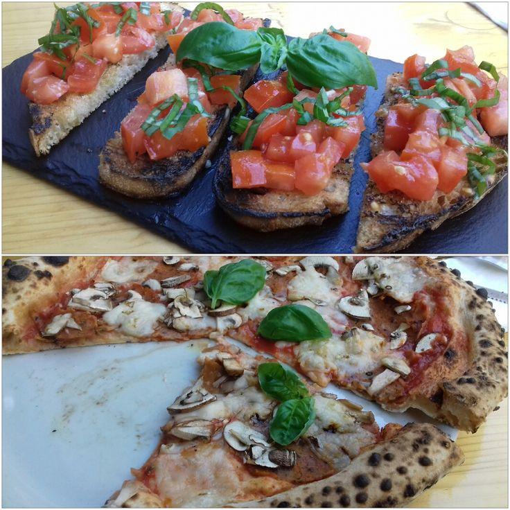 Bruschetta and Pizza salame/funghi at La Stella Nera Berlin