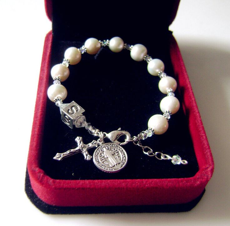 real pearl white austrian bracelet cross