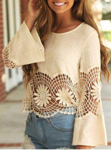 Fashionable Jewel Neck Long Sleeve Crochet Blouse