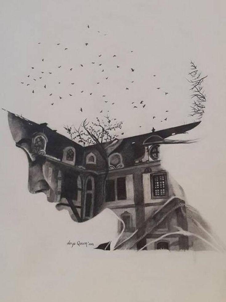 "Saatchi Art Artist Derya QASEM; Drawing, ""Home of Memories"" #art"