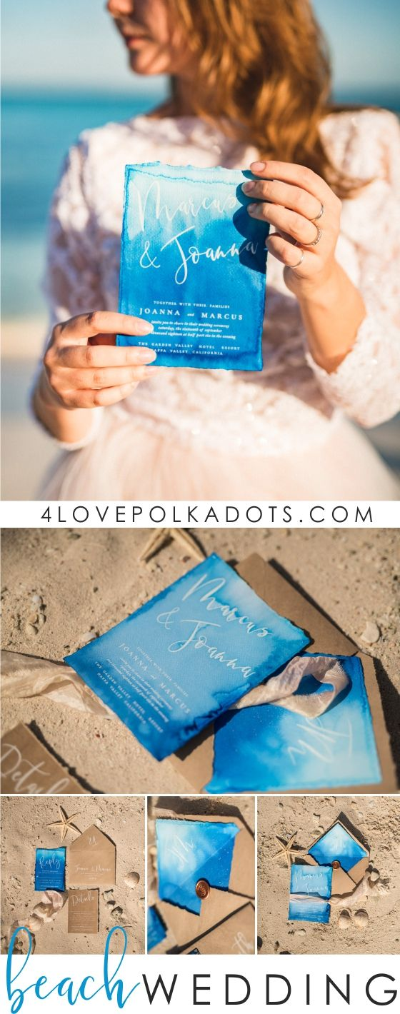 summer wedding invitation wording%0A This handpainted watercolor invitation is perfect for a destination wedding  or romantic beach theme
