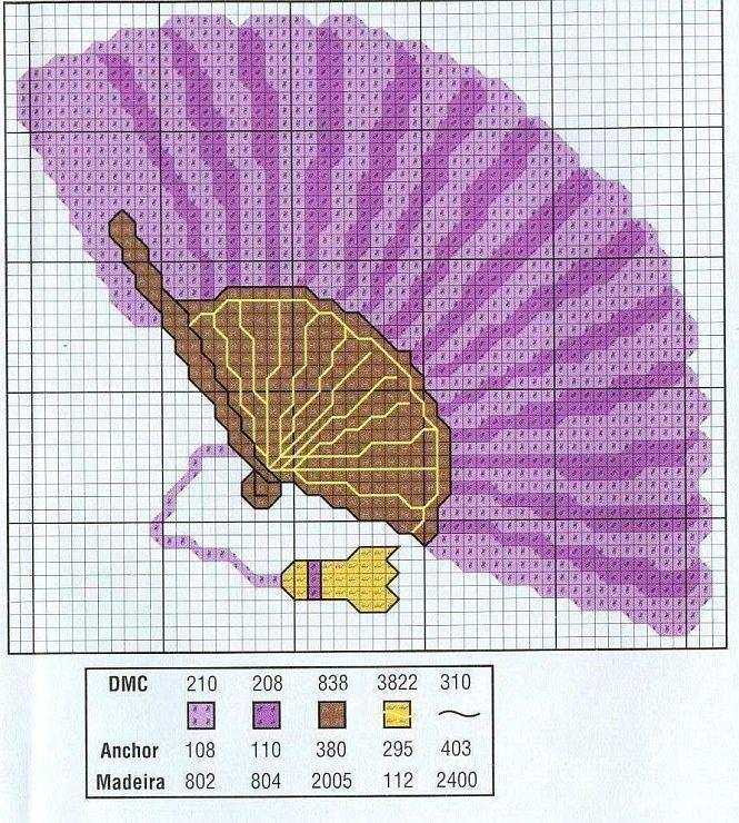 point de croix eventail violet - cross stitch purple fan