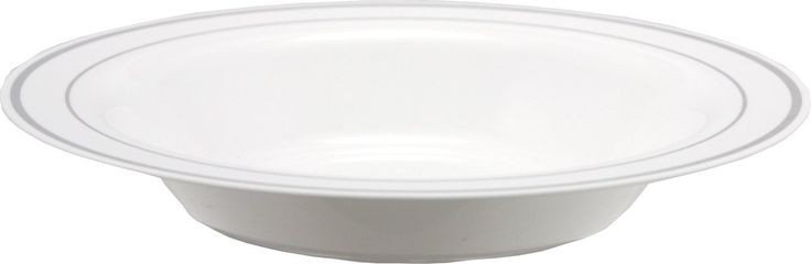 23cm white plastic deep soup or dessert plates with silver rim from Mozaik by Sabert for soups, pasta or salads, these look like real china and perfect for entertaining or for casual occasions such as barbeques or picnics. Designed to be disposable but can be reused with careful washing.