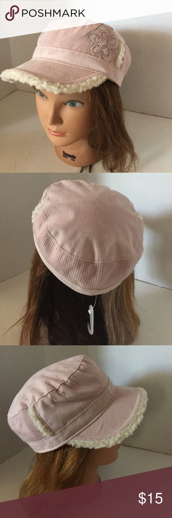 Limited Too faux suede hat Faux suede fabric, pale rose color ,, chic, trendy, trimmed with faux fur,,, so cute😻 Limited Too Accessories Hats