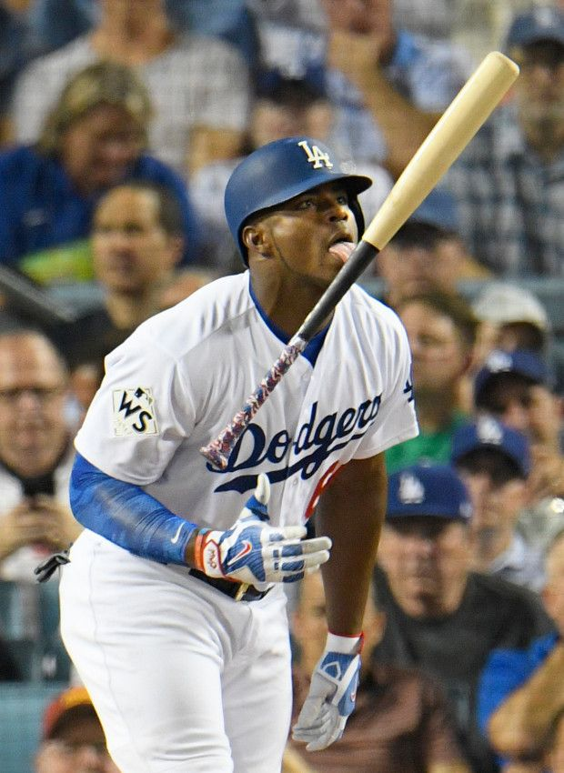 October 25, 2017:  Los Angeles Dodgers split, lose to Houston Astros in Game 2 of the 2017 World Series.  Los Angeles Dodgers right fielder Yasiel Puig #66 reacts to hitting a foul ball int eh 7th inning. The Los Angeles Dodgers played host to the Houston Astros in game 2 of the World Series. Los Angeles, CA 10/25/2017 (Photo by John McCoy, Los Angeles Daily News/SCNG)