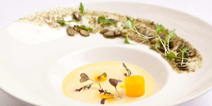 Simon Gueller's butternut squash velouté recipe also contains pumpkin seed paste, pumpkin oil and pickled butternut