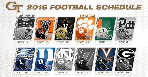 Georgia Tech Releases 2016 Football Schedule   HobNobAtlantaGA