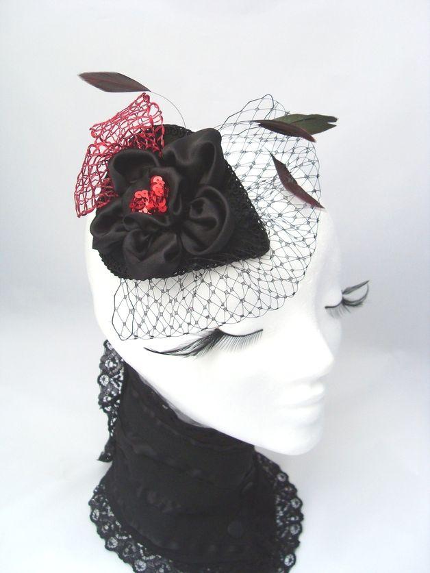 Headpieces & Fascinators - *Fascinator schwarz rot Eleganz Gala Headpiece * - ein Designerstück von kopf-traeume bei DaWanda