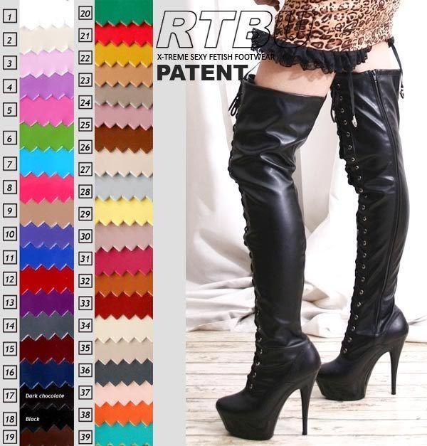 Fetish Platform Dance Knee/Thigh/Crotch Boot Pvc Patent