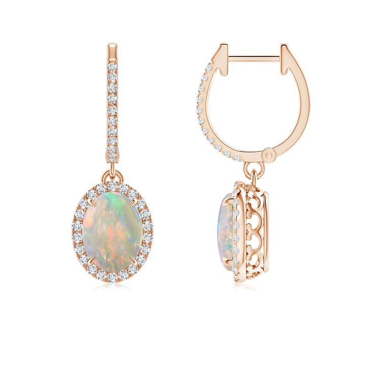 Oval Opal Dangle Earrings with Diamond Halo