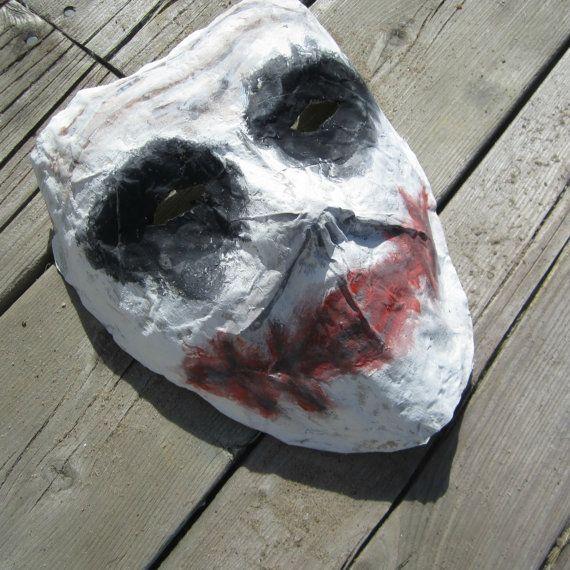 Paper mache mask Joker mask creepy mask by FreakyFaces on Etsy
