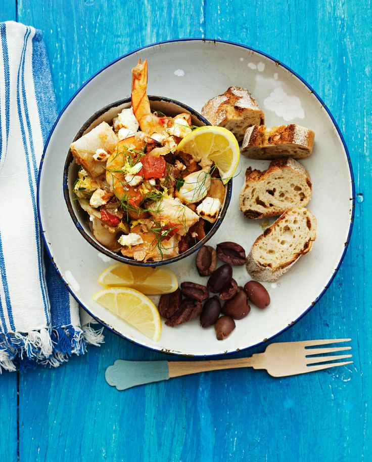 Baked Greek Seafood.  http://www2.woolworthsonline.com.au/Shop/RecipeCategory/200#url=/Shop/Recipe/2737%3Fname%3Dbaked-greek-seafood  #Woolworths #Recipe #Seafood #Fish #Easter