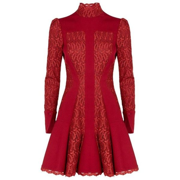 Alexander McQueen High Neck Lace Flare Dress (£3,099) ❤ liked on Polyvore featuring dresses, short dresses, lace dress, drop waist dress, red lace dress, red long sleeve dress and lace mini dress