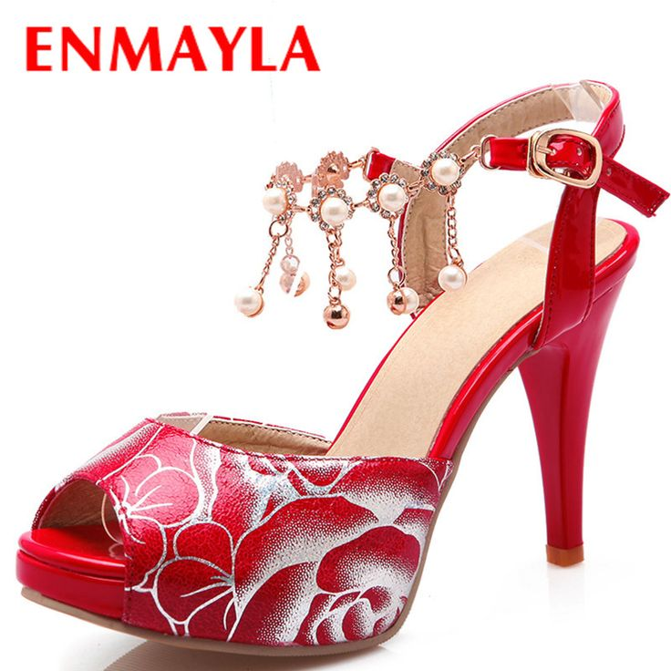 Find More Women's Sandals Information about ENMAYLA High Heels Wedding Shoes Woman Red White Shoes Women Peep Toe Platform Crystal Sandals Pumps Women Beading Chains Shoes,High Quality sandal heel,China shoes boots sandals Suppliers, Cheap shoe stores sandals from vogue shoes store on Aliexpress.com