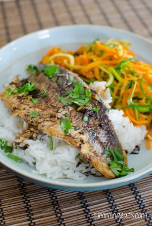 Pan-Fried Sea Bass with Ginger Soy Sauce Slimming Eats Recipe Serves 2 Extra Easy – 2 syns per serving Original – 2 syns per serving (omit rice)