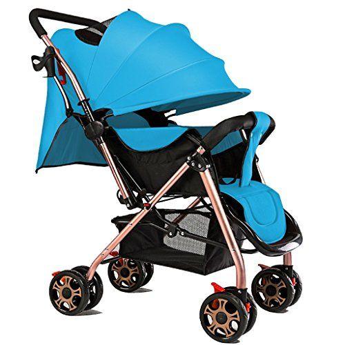Sillas de paseo Los niños de la carretilla del bebé pueden sentarse en el ultra-ligero plegable portátil de dos vías de alto perfil paraguas de invierno y verano Carrito de bebé ( Color : Azul cielo )