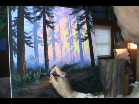 Come dipingere un bosco 16 al tramonto con colori acrilici su tela
