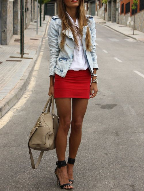 So cute: Shoes, Minis Skirts, Jeans Jackets, Street Style, Denim Jackets, Red Lips, Heels, Spring Outfits, Red Skirts