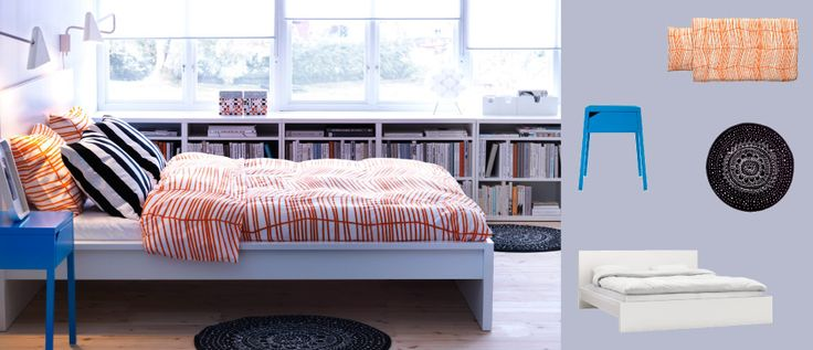 MALM white bed with SELJE blue bedside table and ÖDESTRÄD orange quilt cover and pillowcases