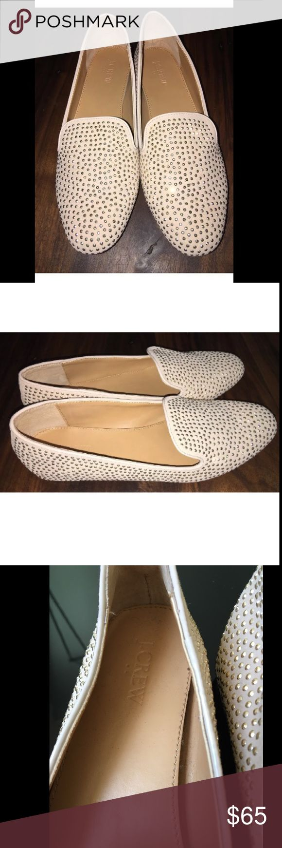 J crew Addie nude tan khaki studded loafers flats J crew Addie studded loafers. These are in GREAT condition as you can see in the pictures. Size 8.5 J. Crew Shoes Flats & Loafers