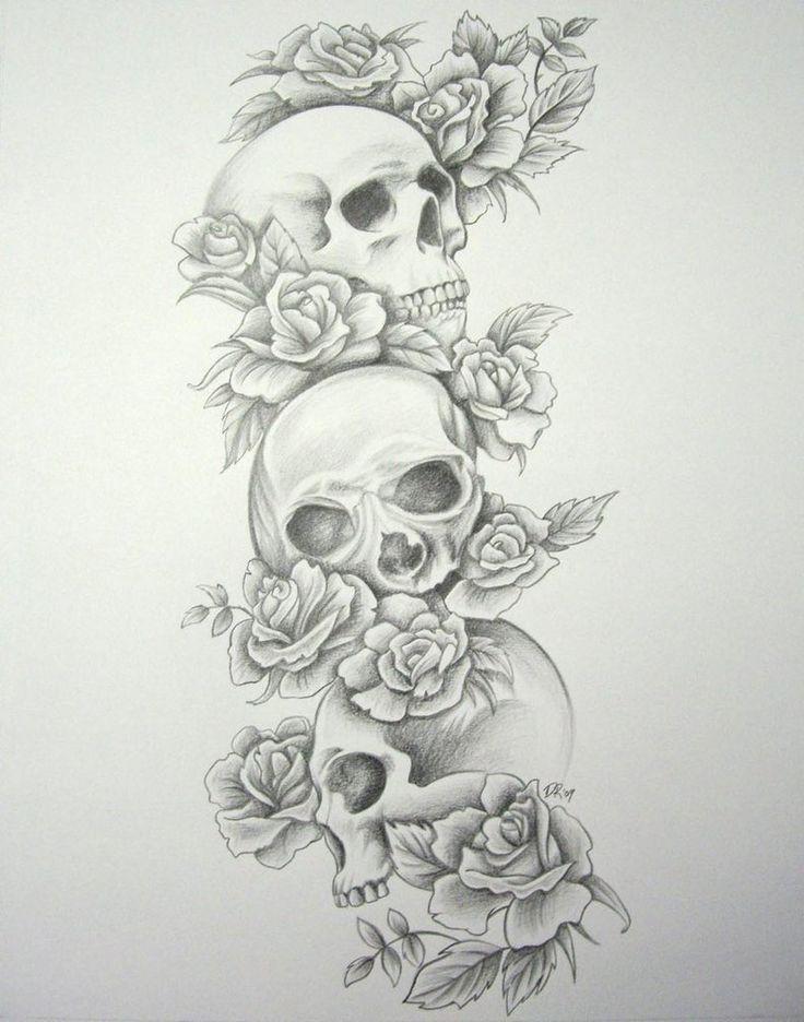 idee tatouage manchette feminin avec 3 tete de mort et roses