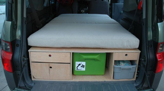 Honda Element car camping platform bed chuck box - https://www.carcampinghacks.co/2018/02/10/honda-element-car-camping-platform-bed-chuck-box/