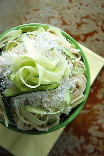 Zucchini Pasta--mixes fusilli, goat cheese and zucchini. The ...