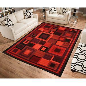 Terra Matrix Woven Olefin Rug, Red Multi Design