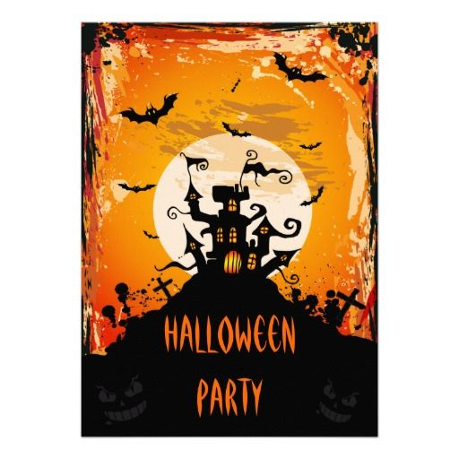 147 best halloween invitations images on pinterest halloween prop haunted castle halloween party card stopboris Choice Image
