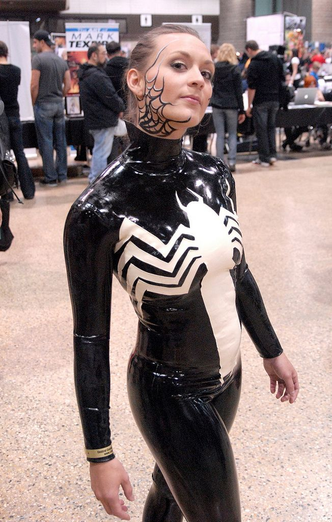 Letters In Latex%0A Rubber Dress  Marvel Comic Character  Spiderman  Marvel Comics  Venom  Latex   Canada  Comic Con  Spider Man