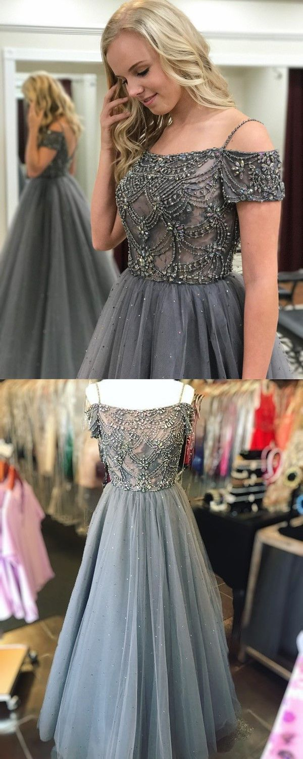 42df192475f Ball Gown Off-the-Shoulder Sweep Train Dark Blue Tulle Prom Dress ...
