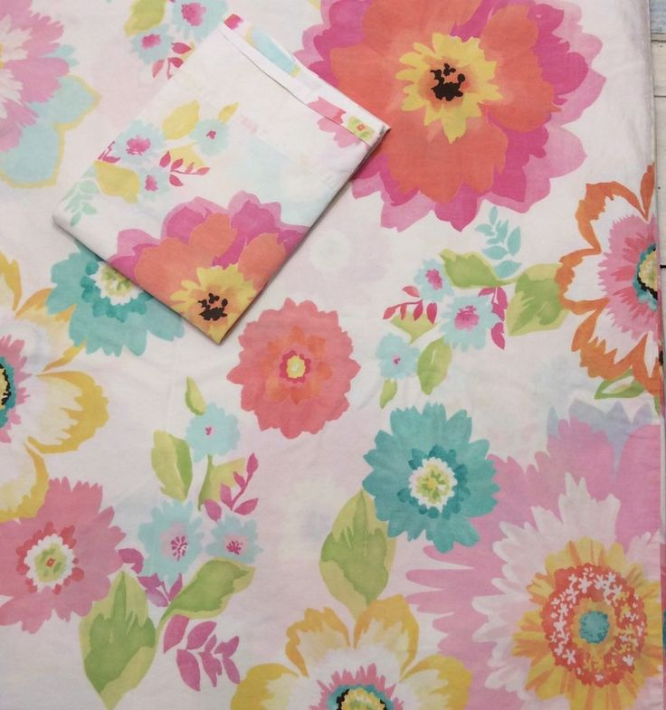 Pottery Barn Teen Twin Duvet Cover & Pillow Case Set Bright Floral 5% Organic   | eBay