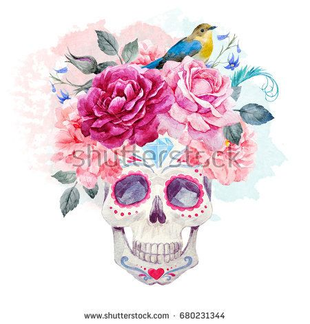 Watercolor print Mexican holiday day of the dead, a man's ...