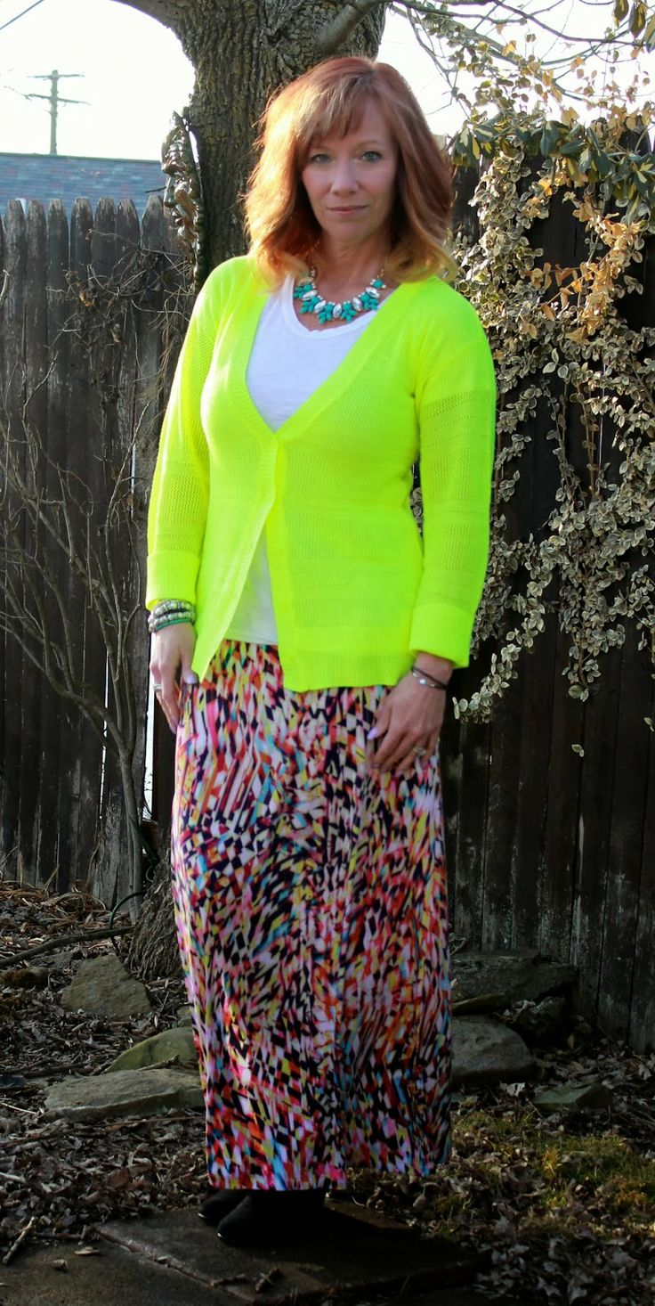 Fashion Fairy Dust: Multicolored Maxi Skirt, Neon Cardigan, Statement Necklace And White Tee