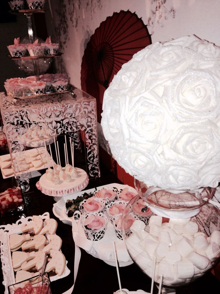 Bridal shower candy bar -cupcakes -cake pops -bride to be -wedding destination on the beach