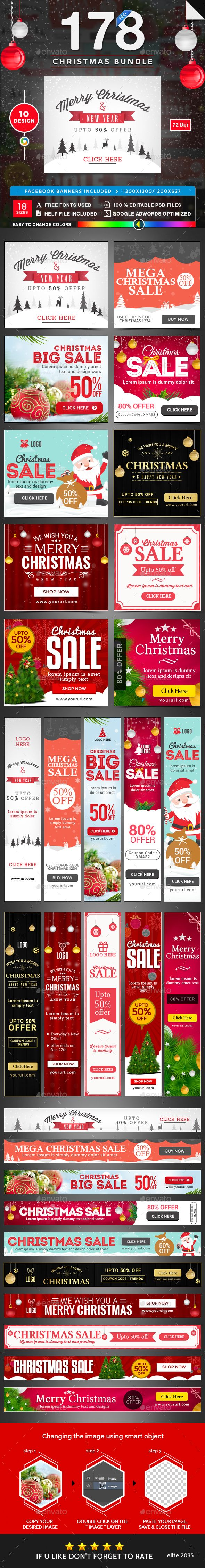 Christmas Banners Bundle - 10 Sets - 178 Banners