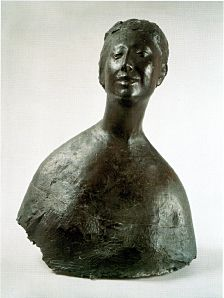 Giacomo Manzù (Italy 1908–1991), Bust of a Woman, 1952. Manzù was largely self-taught as an artist. He was strongly influenced by Donatello and the primitivism of early Christian art. His Crucifixion reliefs, made prior to 1940, were condemned by the Church and the Fascist government. Later he  achieved international critical acclaim for the part he played in the rebirth of Italian sculpture. Collection Estorick Collection of Modern Italian Art, London.