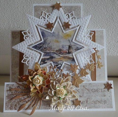 Voorbeeldkaart - Kerstkaart met ster, - Categorie: Figuurkaarten - Hobbyjournaal uw hobby website