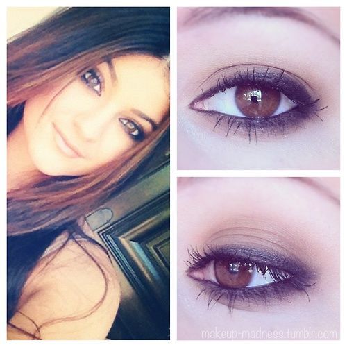 Celebrity inspired, and so easy to do! Just apply a medium brown eyeshadow to your lid (blend it so it looks natural), and apply a pencil liner to your upper and lower lashline. Use a pencil brush, Q-Tip, sponge applicator or your finger and smudge the liner to get the smokey effect! Add mascara and you're finished. Source: makeup-madness on tumblr @ Hair Color and Makeover Inspiration