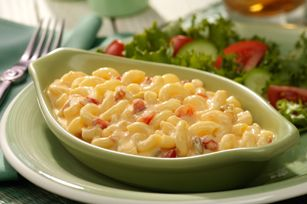 Zesty Mac & Cheese recipe...    1    pkg.   (16 oz.) elbow macaroni            1    lb.   (16 oz.) VELVEETA®, cut into 1/2-nch cubes   1can   (10 oz.) RO*TEL Diced Tomatoes & Green Chilies, undrained    1/2 cup  milk