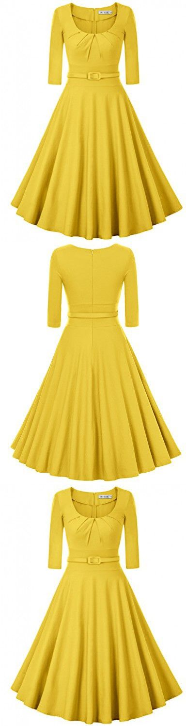 MUXXN Women's Rockabilly Style Fit and Flare Cocktail Formal Dress (L Yellow)