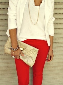 white blazer + red jeans + minimal accessories. this look pops on
