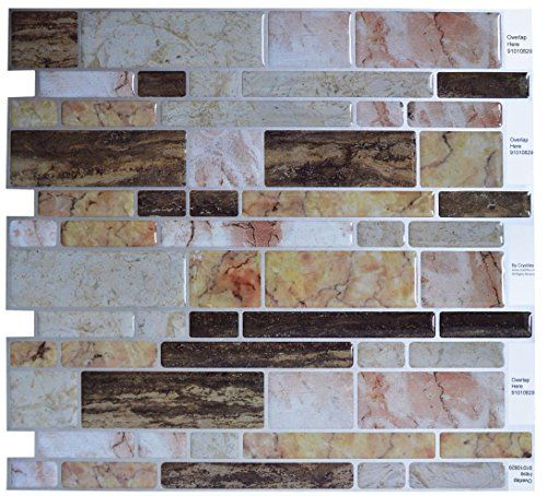 "Crystiles Peel and Stick Self-Adhesive Vinyl Wall Tiles, Multi-Color Marble Style, Item# 91010829, 10"" X 10"", 1 Sheet Sample"
