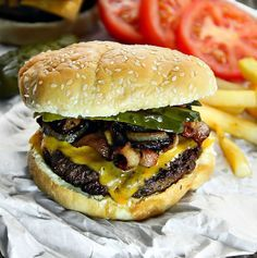 Bacon, Cheese and Caramelized Onion Burger